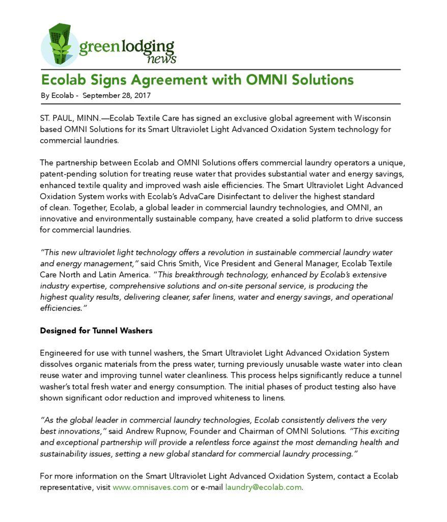 Green Lodging News September 2017 Omni Solutions